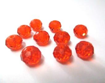 10 orange faceted 6x8mm glass rondelle beads