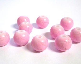 10 pearls pink cracked glass painted 10mm (O-37)
