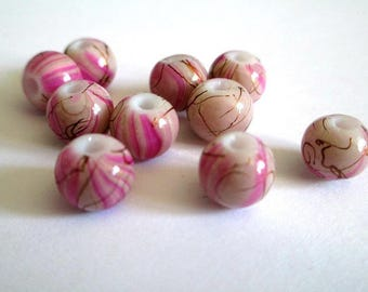 10 beads pink, Brown painted glass 8mm (A-04)
