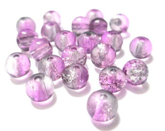 20 purple and white 6mm Crackle glass beads
