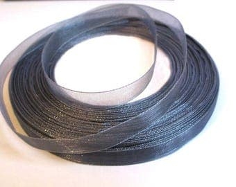 10 m grey 10mm organza Ribbon