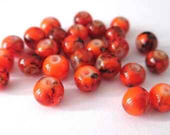 20 speckled neon orange beads 6mm (B-03)