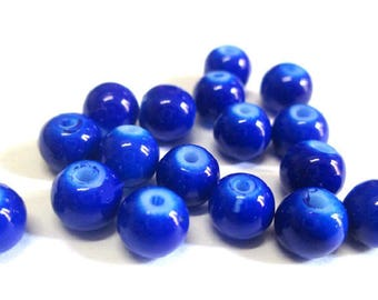 20 painted glass (C-10) 6mm dark blue beads