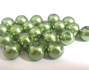 10 pearl beads khaki painted glass 8mm (F-32)