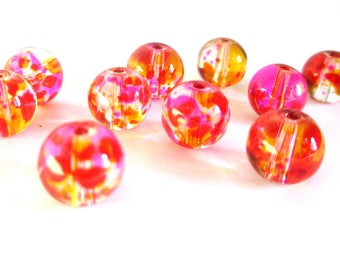 20 drawbench beads transparent pink and yellow 8mm round glass