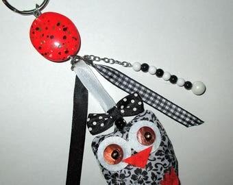 """ღ bag charm """"OWL or OWL"""" orange and black ღ / unique"""