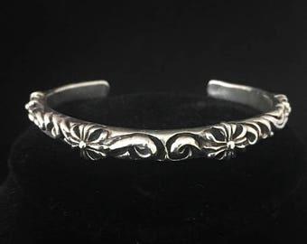 SALE Vintage Embossed 925 Sterling Silver Cuff Bracelet Small Wrist Antique Style Bracelet