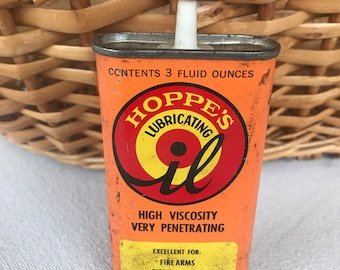 Hoppe's Lubricating Oil, Vintage Oil Can, Oil Can, Graphic Hoppe's Logo