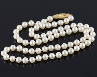 """14k 5mm Pearl Strand Necklace Gold 17"""""""