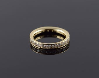 14k 1.00 CTW White CZ Infinity Eternity Wedding Band Ring Gold