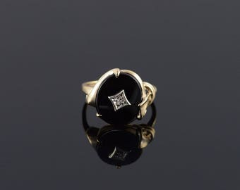 Retro Onyx Diamond Oval Scroll Ring Size 6.25 Gold