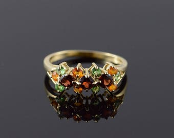 14k 1.25 CTW Citrine Peridot Garnet Fancy Ring Gold