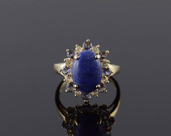 14k 14x10mm Cabochon Lapis White Blue Halo Ring Gold