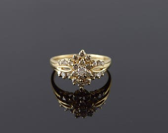 14k 1.25 CTW Diamond Cluster Ring Gold
