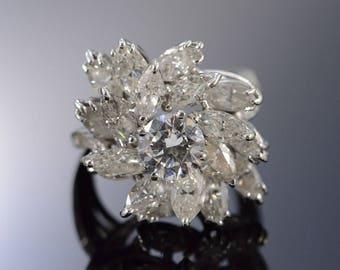 14k 6.13 Ctw Round Marquise Diamond Statement Ring Gold