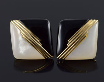 14k 21x21mm Black Onyx Mother of Pearl Inset French Clip Earrings Gold