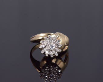 14k Retro 0.25 Ctw Diamond Flower Cluster Ring Gold