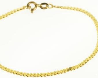 "14k Pressed Serpentine Link Chain Bracelet Gold 7"""