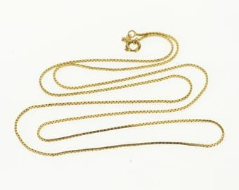 """14k 0.7mm Box Link Chain Necklace Gold 20.25"""""""