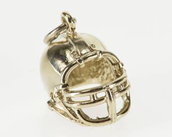 14K 3D Football Helmet Sports Equipment Charm/Pendant White Gold