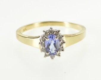14K Oval Tanzanite Diamond Inset Halo Statement Ring Size 8 Yellow Gold