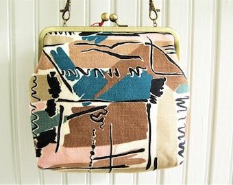"Brown Taupe Blue Black Squiggle Lines Mid Century Vintage Barkcloth Fabric 8"" Antique Brass Kisslock Frame Crossbody Shoulder Bag Purse"