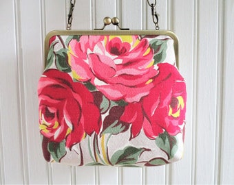 """Pink and Yellow Rose Bouquet on Light Gray Ground Vintage Barkcloth Fabric 8"""" Antique Brass Kisslock Frame Crossbody Shoulder Bag Purse"""
