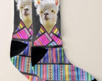 Art Socks,No Prob llama socks, Men Large, Women,Artsy,Artists,Teachers,Artsy Apparel, Gift for Women