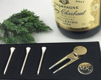 Personalised silver finish golf set