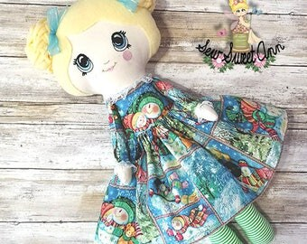 Christmas Holiday Rag Doll - Kawaii Doll - Winter Snowman - Lolita Doll - Dress up Doll - Fabric Doll - Cloth Doll