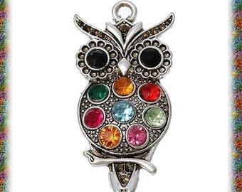 10 large matte silver OWL pendant and rhinestones
