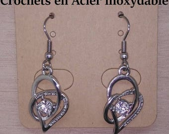 1 pair of hearts entwined stainless steel earrings