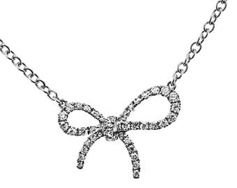 ID: 08290 Ribbon Necklace with Prong Set Round Diamonds in 18k White Gold
