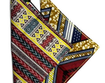 Set Of Two Dashiki African Print Pocket Squares, Red And Yellow Pop Squares For Weddings, Parties