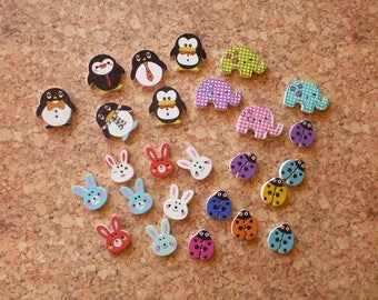Wooden Animal Buttons Selection