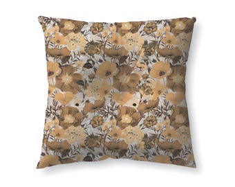 Mustard Floral Pattern - floor pillow