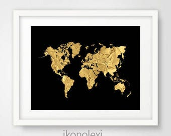 World map poster gold and black map of the world travel chic gold world map black world map world map poster gold map world gumiabroncs Choice Image