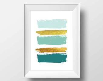 Minimalist art, teal brush strokes, poster art, abstract wall art, brush strokes, wall prints, apartment decor, affiche scandinave