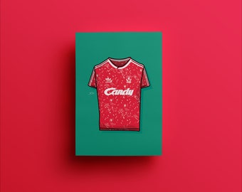 Liverpool FC 1989-91 Home adidas Candy Kit Shirt Illustrated Poster Print | A6 A5 A4 A3