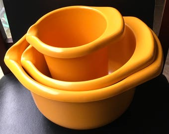 Vintage Emsa Germany Burnt Orange Mixing Bowls With Spout and Handle  Utensils Holder 70s  Retro Vintage MCM MOD Modern Kitchen Decor