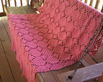 Crocheted  web afghan in soft red