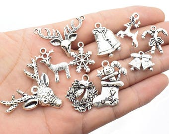 50pcs Mixed Christmas Charm Collection Snowflake Socks Santa Claus Deer Charms Pendant for   Jewelry Making DIY Crafts_HK246