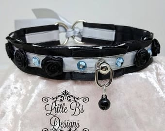 "14.5"" Black and Silver Thin Kittenplay Petplay Collar Choker Necklace Ddlg Bdsm SATIN LINED"
