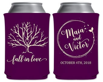 Personalized Can Cooler Fall Wedding Favors Insulators Autumn Wedding | Fall In Love (9A) | Custom Beer Holder/Can Holder | READ DESCRIPTION