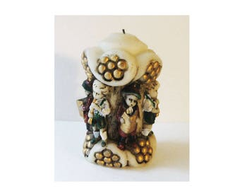 """Vintage Novelty German Candle, Stein Inspired Deep Relief Boys Playing Instruments Ornate with Gold, 4.5"""" Tall, See Description Below"""