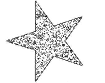 Floral Star downloadable colouring page