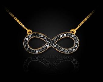 14K Gold Infinity Black Diamond Necklace (yellow, white, rose gold)