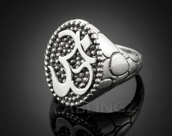 Oxidized Sterling Silver Om (Aum) Mens Yoga Ring