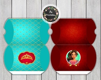 Elena of avalor, printable pillow box, favor, box, instant download, jpg, 300dpi, princess, candy, red, birthday, party, girl, gift,crown