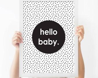 Hello Baby - Nursery Print - Children's Wall Art - Baby Nursery Decor - Kids Room - Black & White - Modern - Contemporary - Monochrome